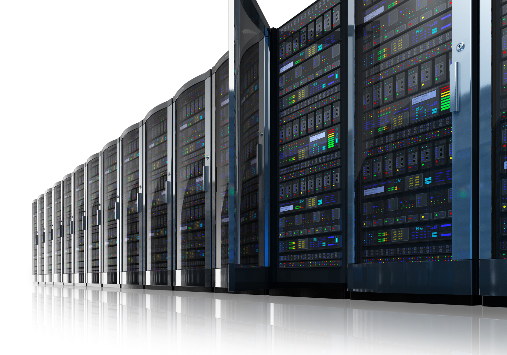 Row of network servers in data center